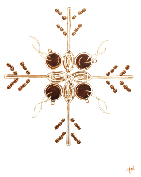 """Angel Sarkela-Saur created this original """"Coffee Snowflake"""" Coffee Art® painting. It features coffee related elements forming a snowflake."""