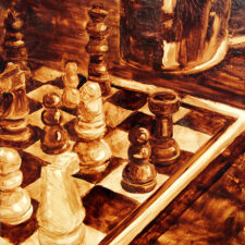 "Angel Sarkela-Saur created this original ""Coffee Strategy"" Coffee Art® painting. It features a chess board with a coffee mug, fueling the duel."