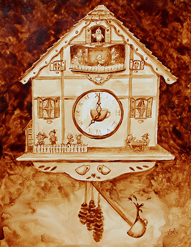 "Angel Sarkela-Saur created this original ""Coffee Time"" Coffee Art® painting. It features an adventurous cuckoo clock waiting to strike the top of the hour."