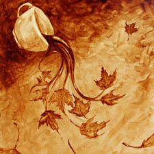 "Angel Sarkela-Saur created this original ""Coffee in the Fall"" Coffee Art® painting. It features a cup of coffee spilling out images of autumn leaves."