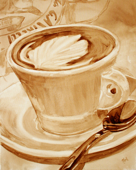 """Angel Sarkela-Saur created this original """"Embellishment"""" Coffee Art® painting. It features a latte art swirl in a cup of coffee."""
