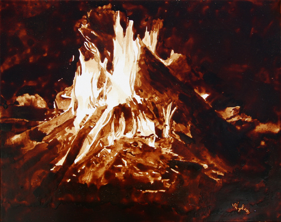 "Angel Sarkela-Saur created this original ""Fireside"" Coffee Art® painting. It features a roaring campfire, creating a warm and cozy atmosphere. You can basically hear the crackling embers emerging from the flames."
