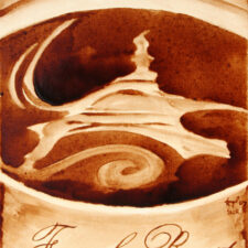 "Andrew Saur & Angel Sarkela-Saur created this original ""French Roast"" Coffee Art® painting. It features an artistic image of the Eiffel Tower swirling in a cup of coffee."