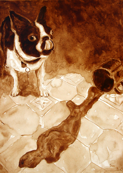 "Andrew Saur created this original ""Gidget Sneaks a Taste"" Coffee Art® painting. It features his Boston Terrier, Gidget, sneaking a taste of a spilled coffee on the floor."