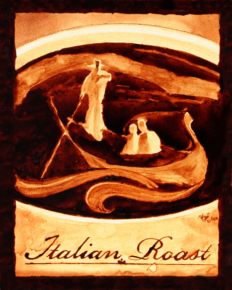 "Angel Sarkela-Saur created this original ""Italian Roast"" Coffee Art® painting. It features a gondolier guiding a couple through Venice in a cup of coffee."