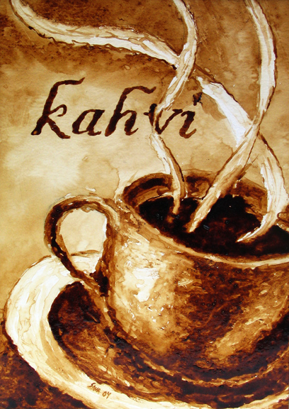 """Andrew Saur created this original """"Kahvi"""" Coffee Art® painting. It features steam rising from a fresh cup of coffee."""