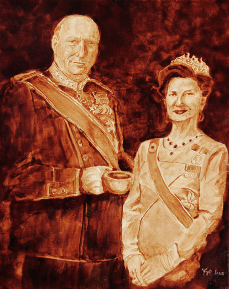 """Andrew Saur and Angel Sarkela-Saur created this original """"King Harald V & Queen Sonja of Norway"""" Coffee Art® painting. It features the Norwegian royal couple holding a cup of coffee."""