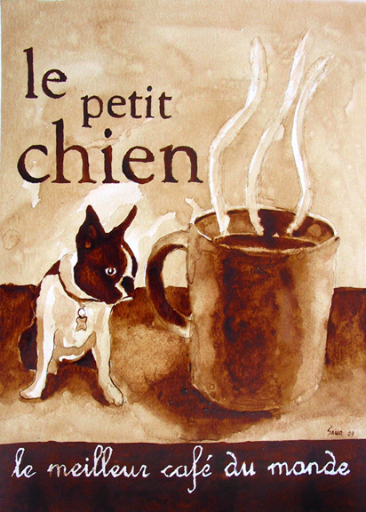 """Andrew Saur created this original """"Le Petit Chien"""" Coffee Art® painting. It features his Boston Terrier, Gidget, and the greatest coffee in the world."""