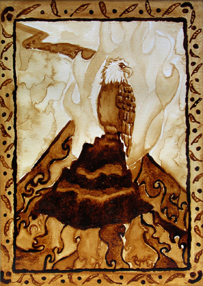 """Angel Sarkela-Saur created this original """"Lemminkainen Journey to the Marriage-Feast"""" Coffee Art® painting. It features imagery found in the historic Finnish epic, The Kalevala."""