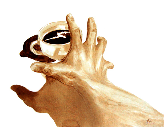 """Angel Sarkela-Saur created this original """"Must Have Coffee!"""" Coffee Art® painting. It features a hand, desperately reaching for a cup of coffee."""