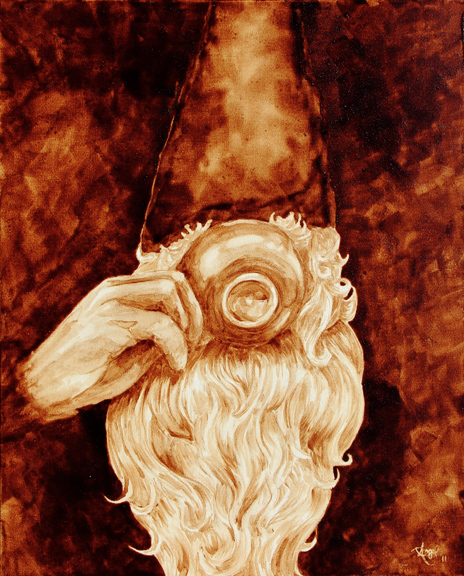 """Angel Sarkela-Saur created this original """"Nisse"""" Coffee Art® painting. It features a thirsty gnome drinking a cup of coffee."""