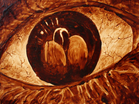"Angel Sarkela-Saur created this original ""Obsession"" Coffee Art® painting. It features a coffee bean being studied carefully in the reflection of a watchful eye."