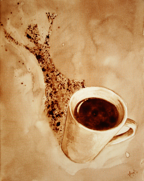 """Angel Sarkela-Saur created this original """"Pow!"""" Coffee Art® painting. It features an energized figure leaping out from the coffee mug's shadow."""