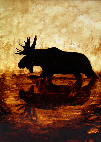 "Andrew Saur created this original ""Reflection of a Moose"" Coffee Art® painting. It features majestic moose wading through a boggy marsh."