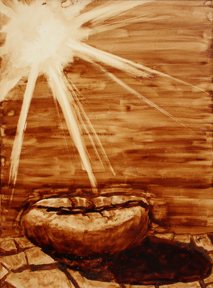 """Angel Sarkela-Saur created this original """"Scorch"""" Coffee Art® painting. It features a coffee bean being roasted by the rays of the sun."""