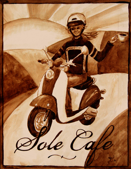 """Angel Sarkela-Saur created this original """"Solé Café"""" Coffee Art® painting. It features a girl cruising on a scooter with a cup of coffee in hand."""