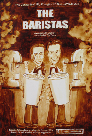 "Angel Sarkela-Saur created this original ""The Baristas"" Coffee Art® painting. It features two baristas working side by side in a busy coffee shop."
