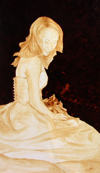 "Andrew Saur and Angel Sarkela-Saur created this original ""The Bride"" Coffee Art® painting. It features the gorgeous bride on her wedding day."