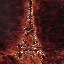 "Angel Sarkela-Saur created this original ""Voilà!"" Coffee Art® painting. It features a person gazing up in amazement at the Eiffel Tower."