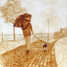 "Andrew Saur created this original ""A Walk in the Rain"" Coffee Art® painting. It features a woman walking her puppy along a cobblestone street in the rain."