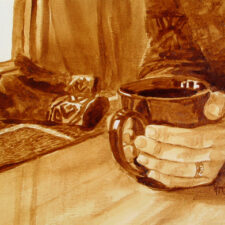 "Angel Sarkela-Saur & Andrew Saur created this original ""Warm Up"" Coffee Art® painting. It features a pair of hands grasping onto a hot cup of coffee in an effort to warm the hands."