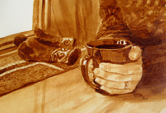 """Angel Sarkela-Saur & Andrew Saur created this original """"Warm Up"""" Coffee Art® painting. It features a pair of hands grasping onto a hot cup of coffee in an effort to warm the hands."""