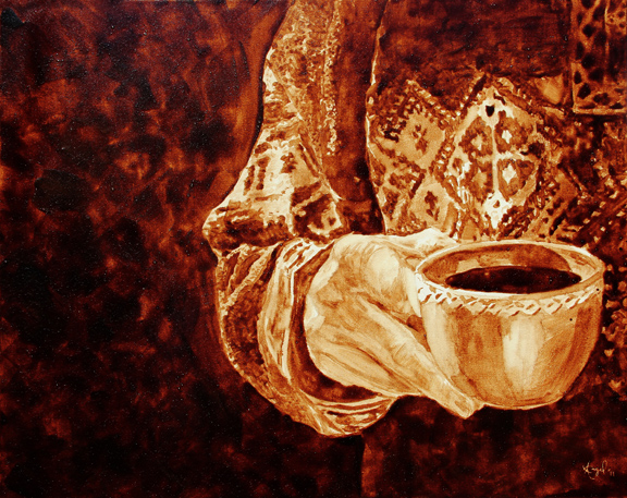 "Angel Sarkela-Saur created this original ""Warmth"" Coffee Art® painting. It features a person holding a hot cup of coffee on a cold winter day."