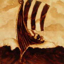 "Andrew Saur created this original ""Wave Cutter"" Coffee Art® painting. It features a Viking ship slicing through rough seas."