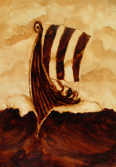 """Andrew Saur created this original """"Wave Cutter"""" Coffee Art® painting. It features a Viking ship slicing through rough seas."""