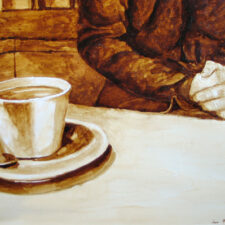 "Andrew Saur and Angel Sarkela-Saur created this original ""What will today bring?"" Coffee Art® painting. It features a person contemplating their thoughts."