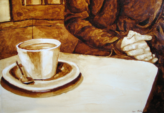 """Andrew Saur and Angel Sarkela-Saur created this original """"What will today bring?"""" Coffee Art® painting. It features a person contemplating their thoughts."""