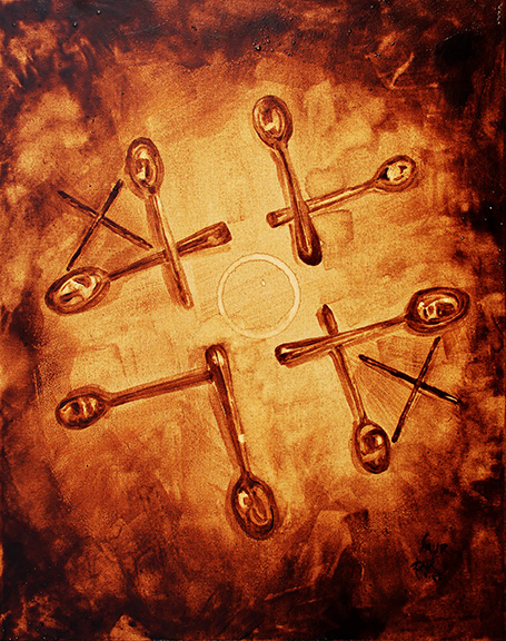 """Andrew Saur & Angel Sarkela-Saur created this original """"XOX"""" Coffee Art® painting. It features a game of tic-tac-toe using a coffee ring and stir sticks."""