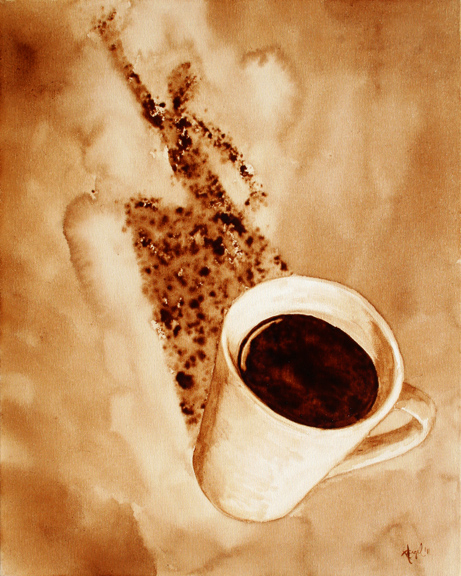 """Angel Sarkela-Saur created this original """"Zoom!"""" Coffee Art® painting. It features an energized figure leaping out from the coffee mug's shadow."""