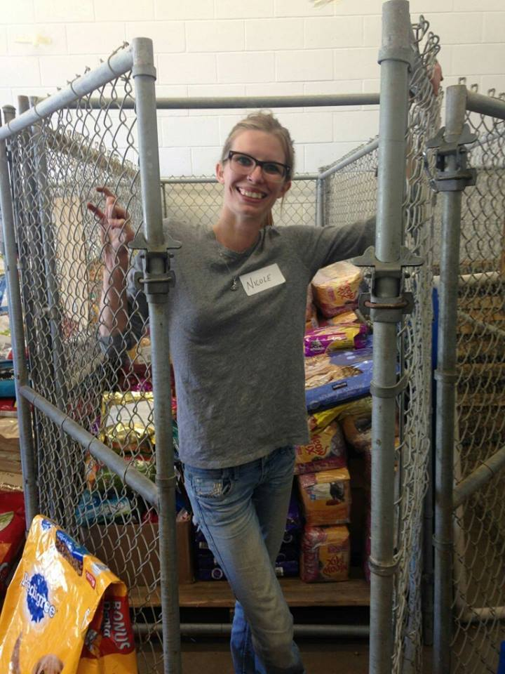 On any given week at the shelter there are lots of chores that need to be done – in this photo Nicole helped us to organize bags of pet food for our community support.
