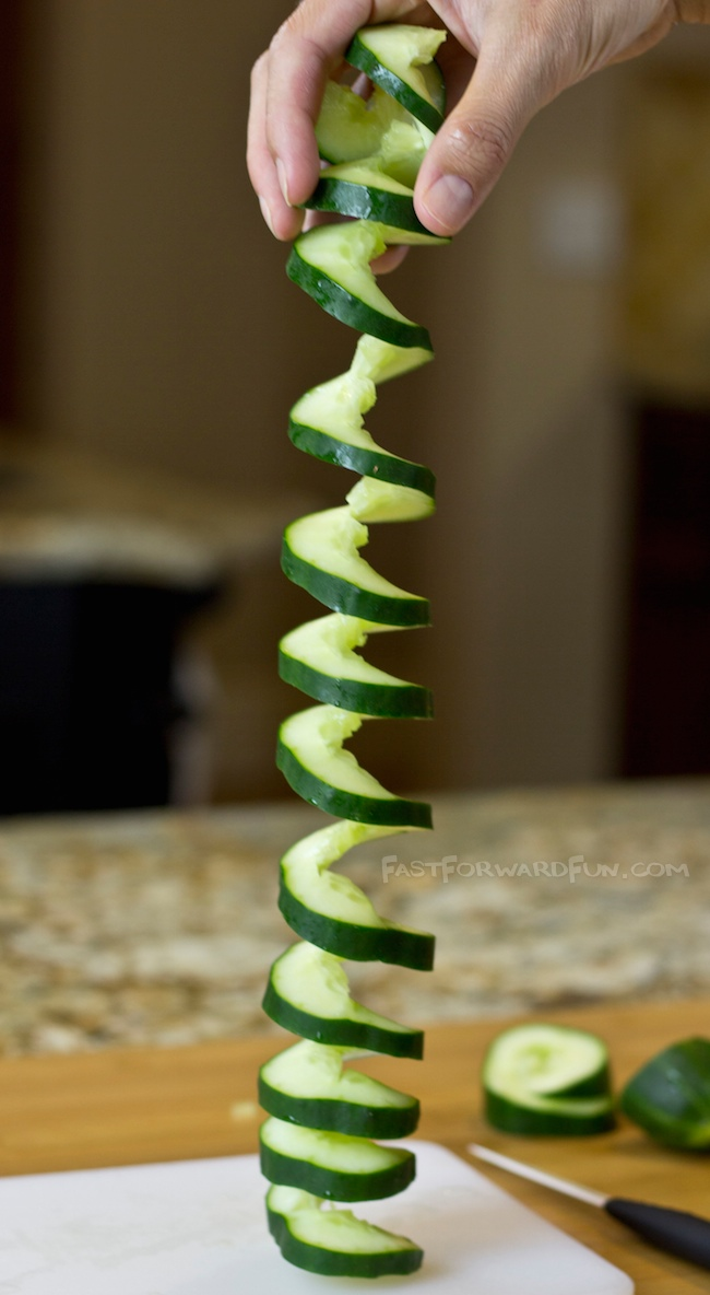 3 Super Fun and Easy Ways To Cut A Cucumber (awesome video tutorial and photos here!)   Fast Forward Fun