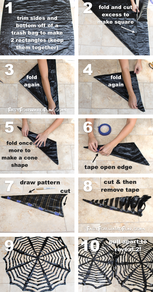 DIY Trash Bag Spiderwebs-- These look awesome in a window! So easy and cheap. (video tutorial)   Fast Forward Fun