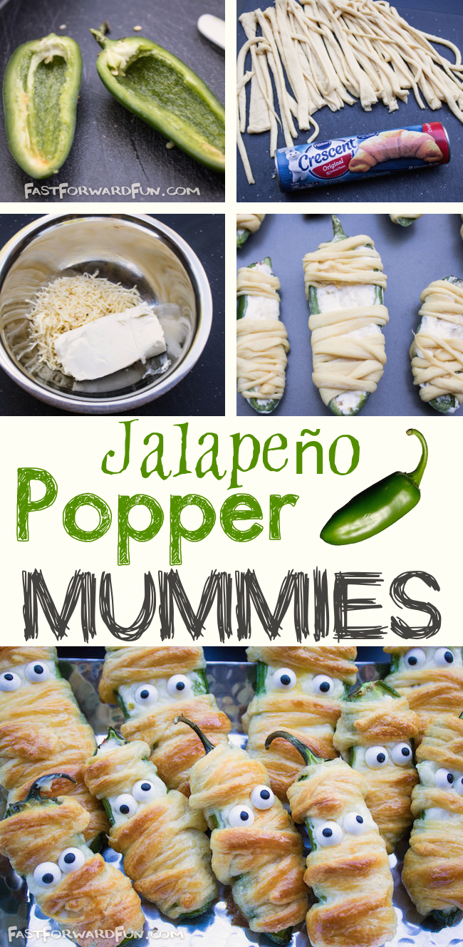 Jalapeño Popper Mummies -- Super fun and easy Halloween snack! (fast video tutorial and step-by-step photos). Fast Forward Fun