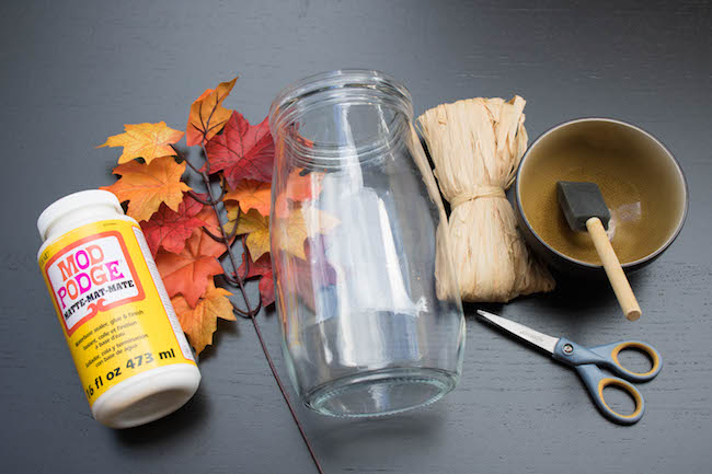 Materials needed for DIY Fall Leaf Candle Holder