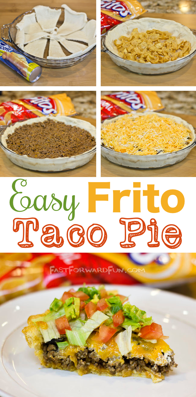The tastiest and easiest dinner, EVER! Easy Frito Taco Pie (super fun video tutorial and step-by-step photos).   Fast Forward Fun
