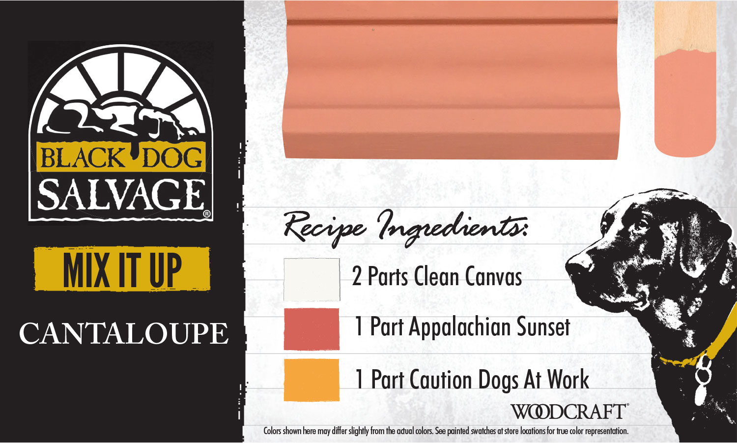 """""""Cantaloupe"""" is made from 2 Parts """"Clean Canvas,"""" 1 Part """"Appalachian Sunset,"""" and 1 Part """"Caution: Dogs At Work"""""""