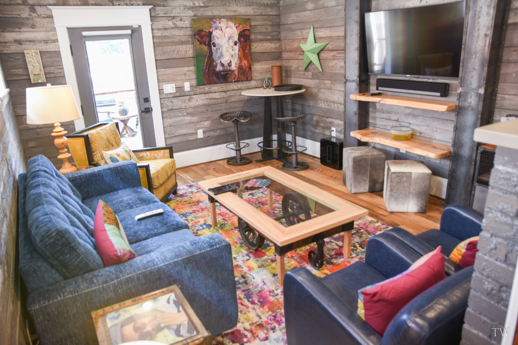 tv room in Black Dog Salvage's Stone House