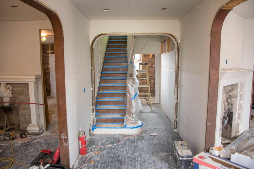 the main staircase of the Stone House under renovation