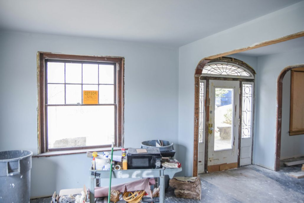 a room in the Stone House undergoing renovation