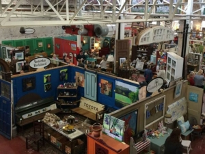multiple vendors in Black Dog Salvage's Memorial Bridge Marketplace