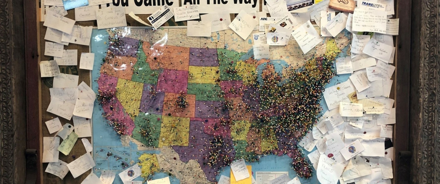 map with pins from visitors to Black Dog Salvage