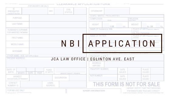 NBI Application Form of JCA Law Office