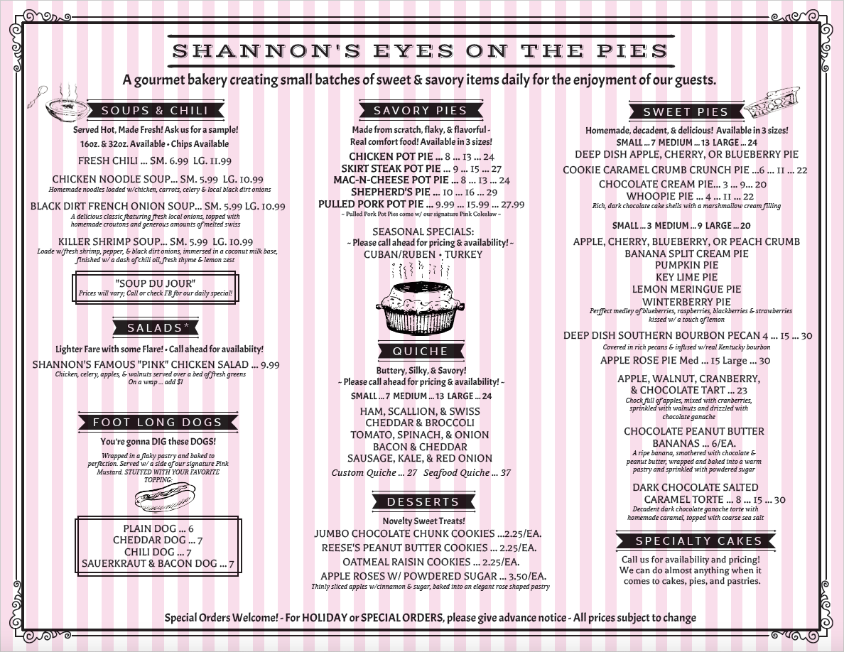 Shannon's Eyes on the Pies menu
