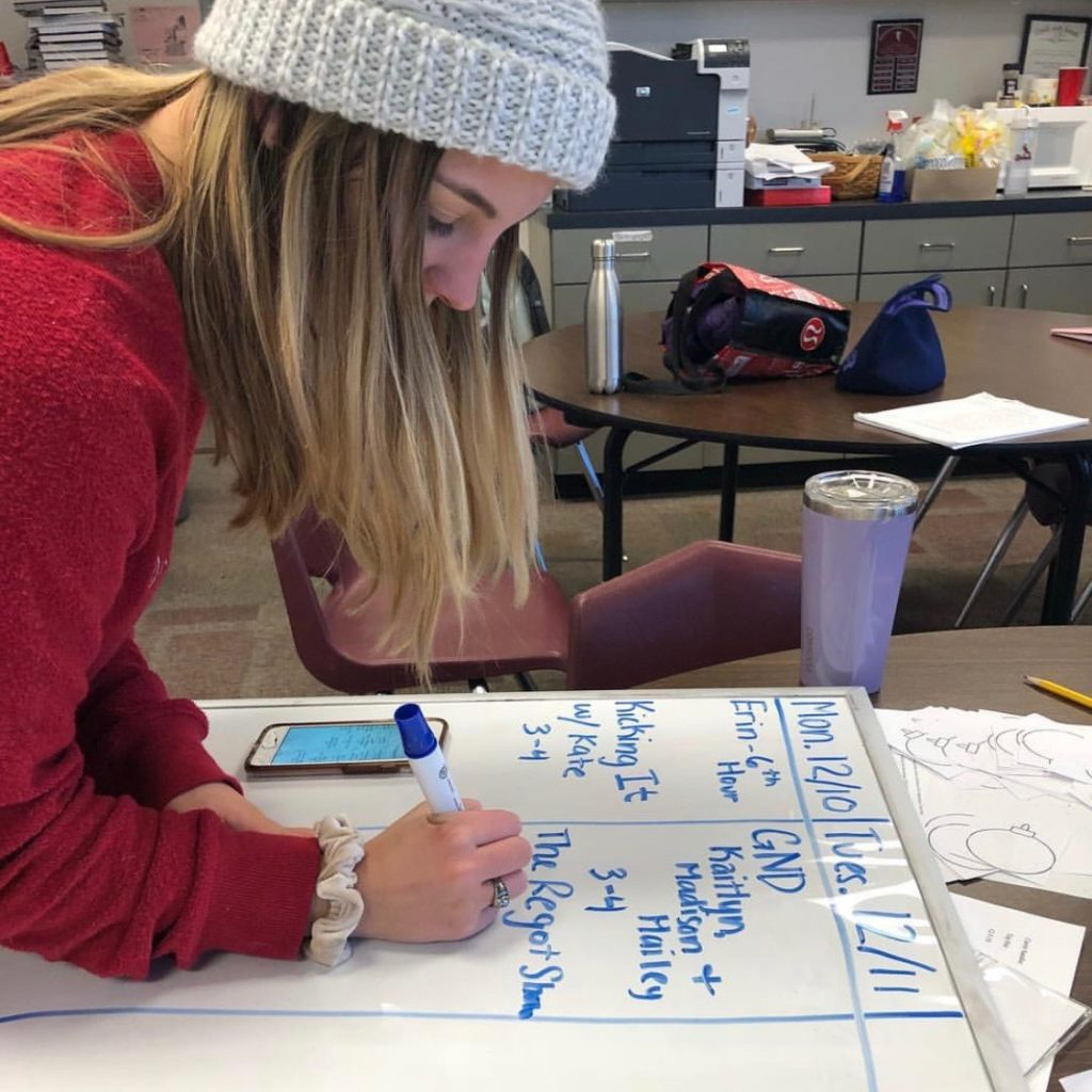 Program Director Kiki Wagner schedules out the week.