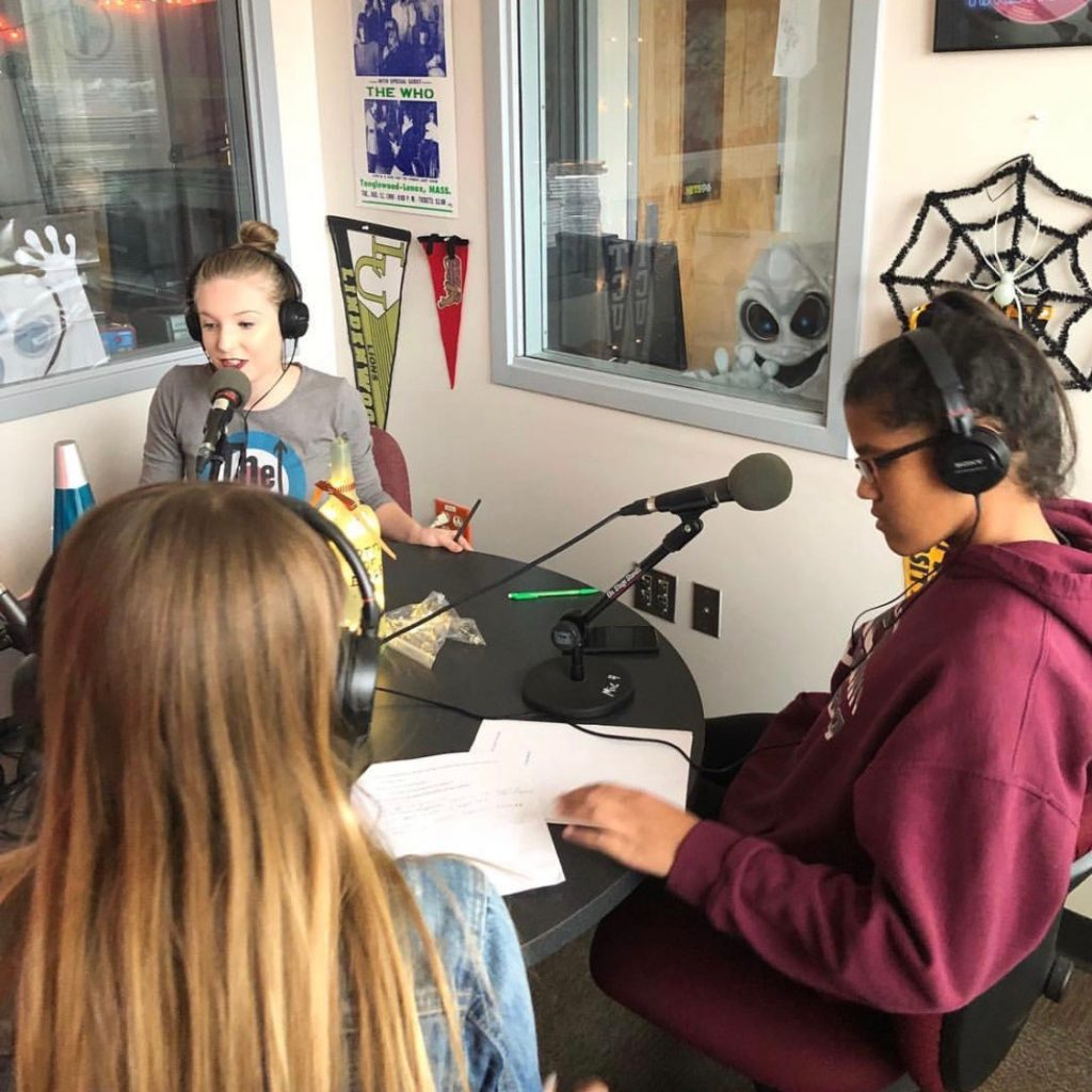 Katie Quinn, Alexis Rotter and Julie James on air.