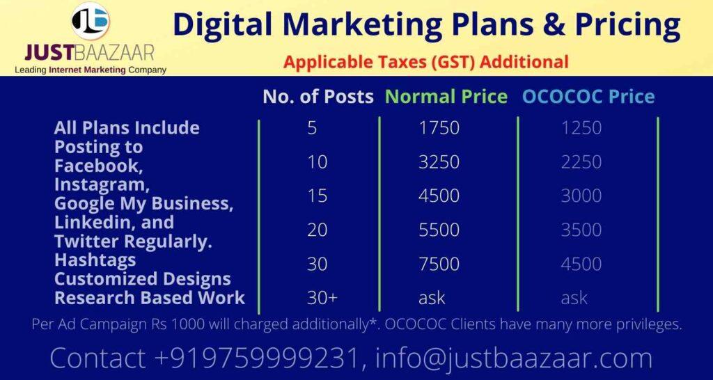 Digital Marketing Plans Price Social Media Marketing